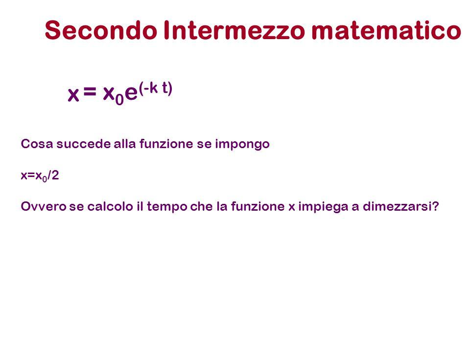 Secondo Intermezzo matematico x = x 0 e (-k t) Cosa succede alla funzione se impongo x=x 0 /2 Ovvero se calcolo il tempo che la funzione x impiega a d