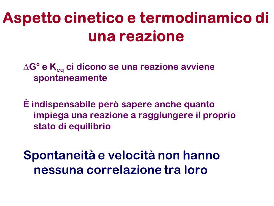 Aspetto cinetico e termodinamico di una reazione  G° e K eq ci dicono se una reazione avviene spontaneamente È indispensabile però sapere anche quant