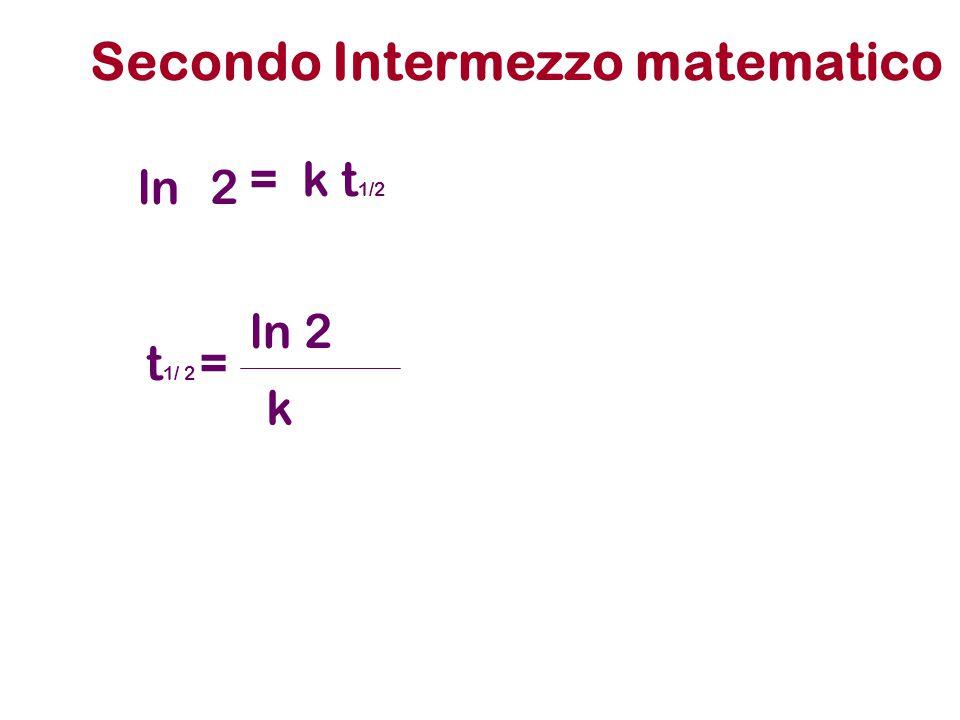 Secondo Intermezzo matematico = k t 1/2 ln2 t 1/ 2 = ln 2 k