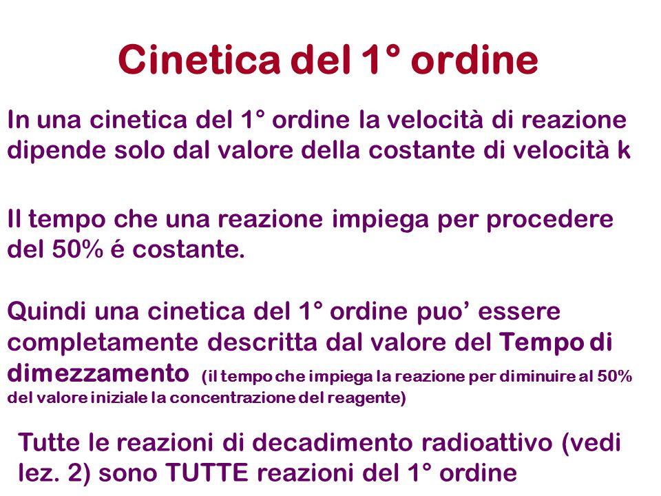 Cinetica del 1° ordine In una cinetica del 1° ordine la velocità di reazione dipende solo dal valore della costante di velocità k Il tempo che una rea