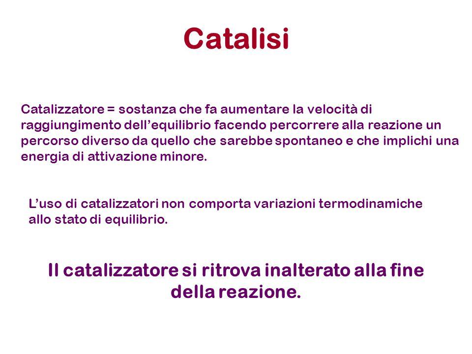 Catalisi Catalizzatore = sostanza che fa aumentare la velocità di raggiungimento dell'equilibrio facendo percorrere alla reazione un percorso diverso
