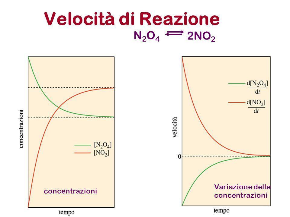 Velocità di Reazione N2O4N2O4 2NO 2 concentrazioni Variazione delle concentrazioni