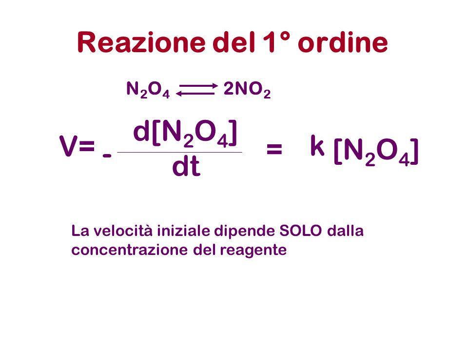 Reazione del 1° ordine N2O4N2O4 2NO 2 La velocità iniziale dipende SOLO dalla concentrazione del reagente V= d[N 2 O 4 ] dt - =[N 2 O 4 ] k
