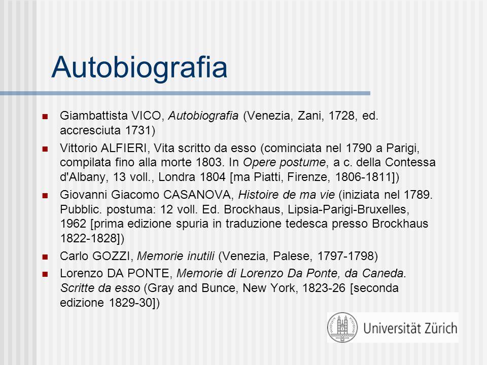 Autobiografia Giambattista VICO, Autobiografia (Venezia, Zani, 1728, ed.
