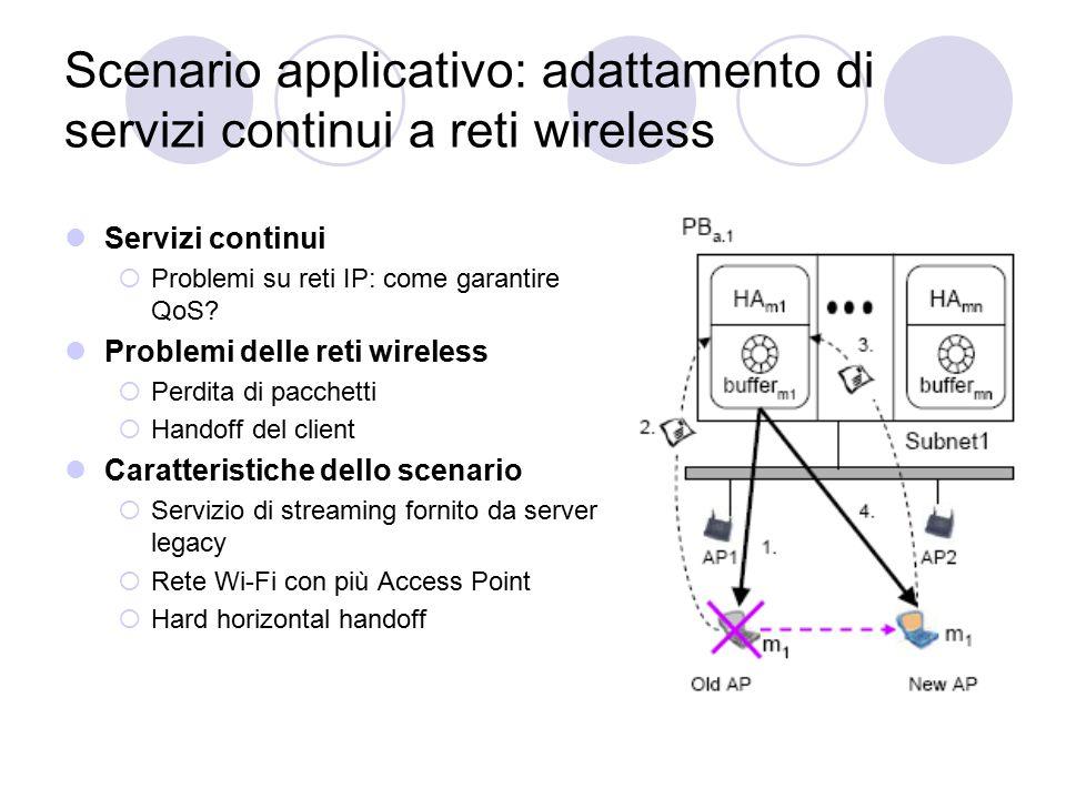 Scenario applicativo: adattamento di servizi continui a reti wireless Servizi continui  Problemi su reti IP: come garantire QoS.