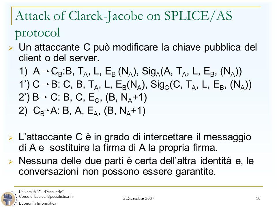 5 Dicembre 2007 10 Attack of Clarck-Jacobe on SPLICE/AS protocol  Un attaccante C può modificare la chiave pubblica del client o del server.