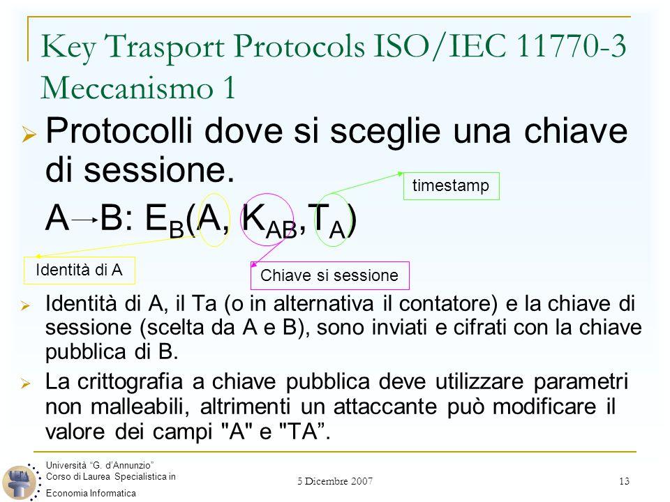 5 Dicembre 2007 13 Key Trasport Protocols ISO/IEC 11770-3 Meccanismo 1  Protocolli dove si sceglie una chiave di sessione. A B: E B (A, K AB,T A ) 