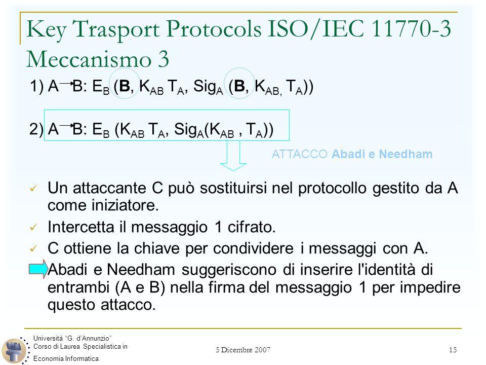 5 Dicembre 2007 15 Key Trasport Protocols ISO/IEC 11770-3 Meccanismo 3 1) A B: E B (B, K AB T A, Sig A (B, K AB, T A )) 2) A B: E B (K AB T A, Sig A (