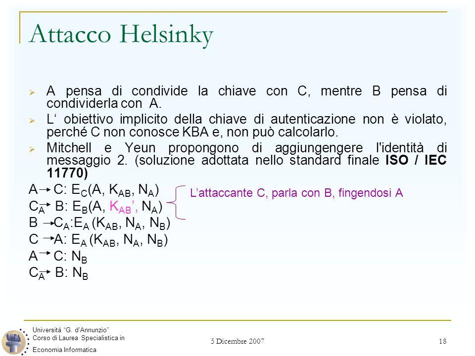 5 Dicembre 2007 18 Attacco Helsinky  A pensa di condivide la chiave con C, mentre B pensa di condividerla con A.  L' obiettivo implicito della chiav
