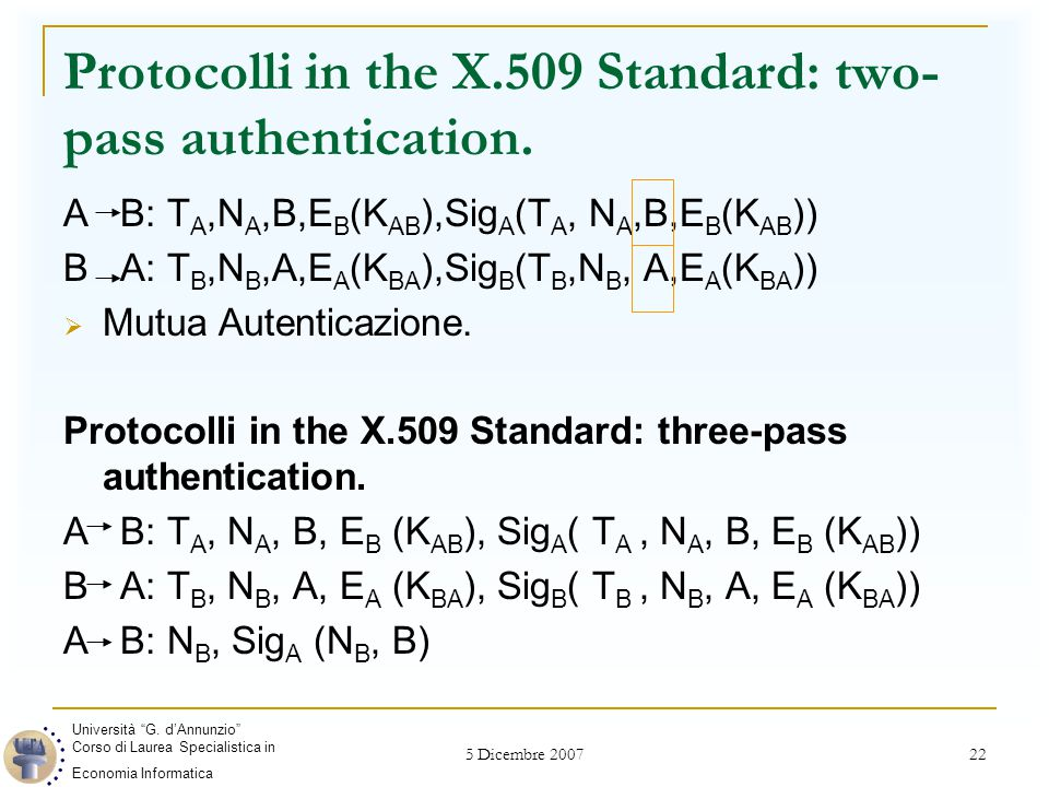 5 Dicembre 2007 22 Protocolli in the X.509 Standard: two- pass authentication.