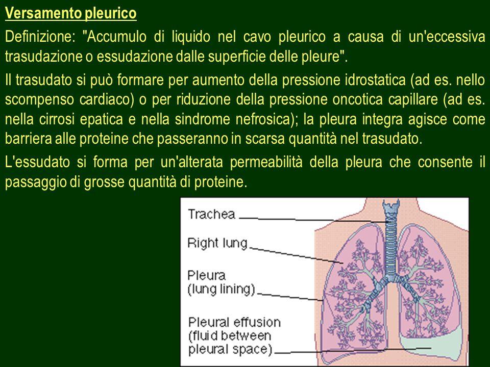 26 Versamento pleurico Definizione: Accumulo di liquido nel cavo pleurico a causa di un eccessiva trasudazione o essudazione dalle superficie delle pleure .