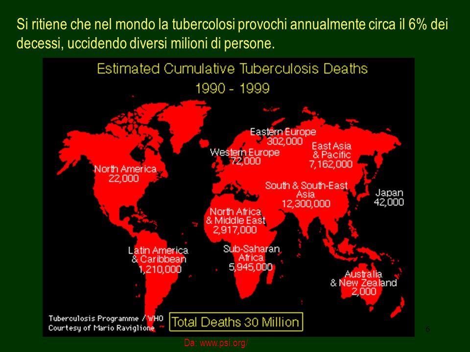 7 Eziologia L agente eziologico della tubercolosi polmonare è generalmente il Mycobacterium tubercolosis, varietà hominis, (noto anche come bacillo di Koch - BK -, dal nome di chi lo ha scoperto).