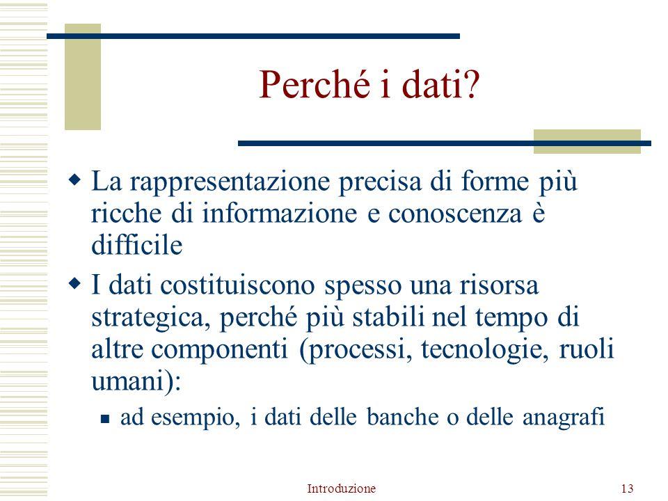 Introduzione13 Perché i dati.