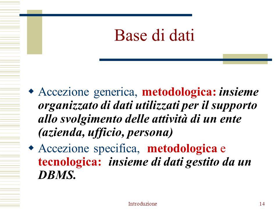 Introduzione14 Base di dati  Accezione generica, metodologica: insieme organizzato di dati utilizzati per il supporto allo svolgimento delle attività di un ente (azienda, ufficio, persona)  Accezione specifica,, metodologica e tecnologica:) insieme di dati gestito da un DBMS.