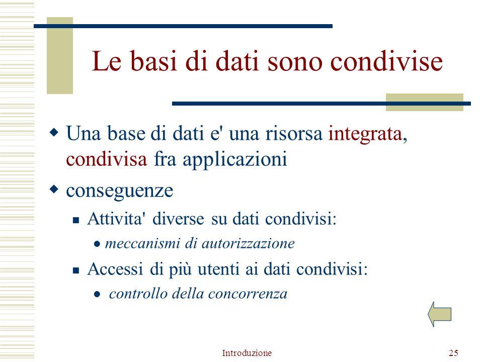 Introduzione25 Le basi di dati sono condivise  Una base di dati e una risorsa integrata, condivisa fra applicazioni  conseguenze Attivita diverse su dati condivisi: meccanismi di autorizzazione Accessi di più utenti ai dati condivisi: controllo della concorrenza