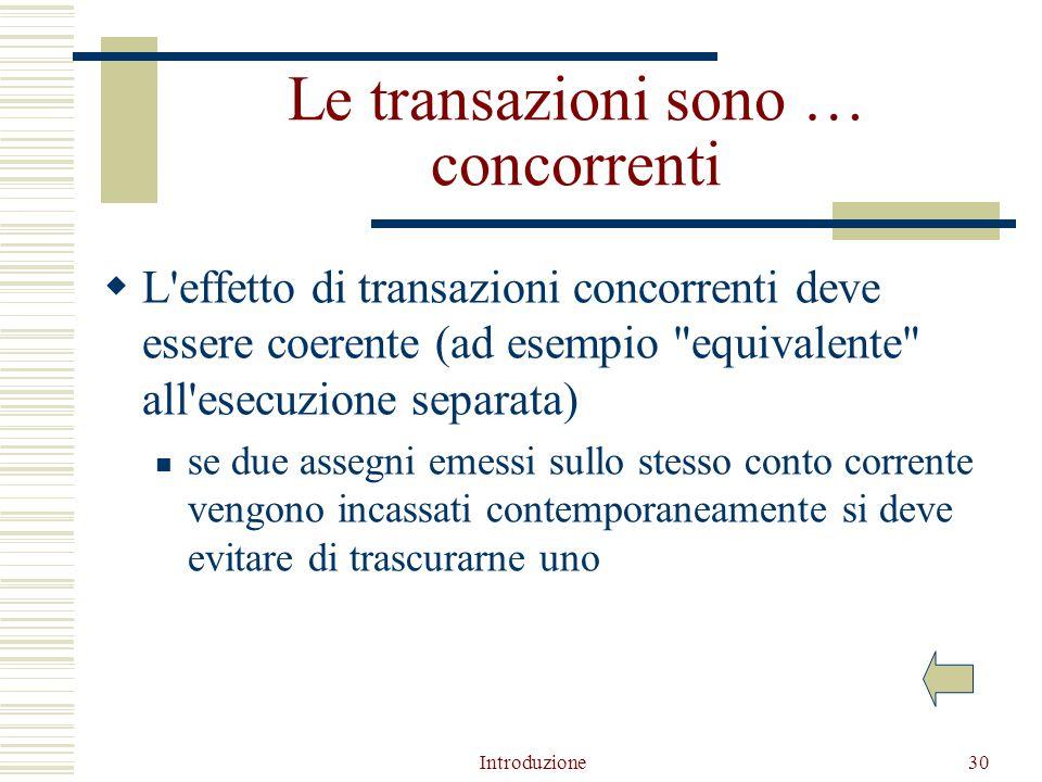 Introduzione30 Le transazioni sono … concorrenti  L effetto di transazioni concorrenti deve essere coerente (ad esempio equivalente all esecuzione separata) se due assegni emessi sullo stesso conto corrente vengono incassati contemporaneamente si deve evitare di trascurarne uno