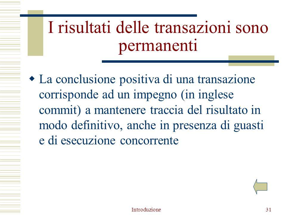 Introduzione31 I risultati delle transazioni sono permanenti  La conclusione positiva di una transazione corrisponde ad un impegno (in inglese commit) a mantenere traccia del risultato in modo definitivo, anche in presenza di guasti e di esecuzione concorrente