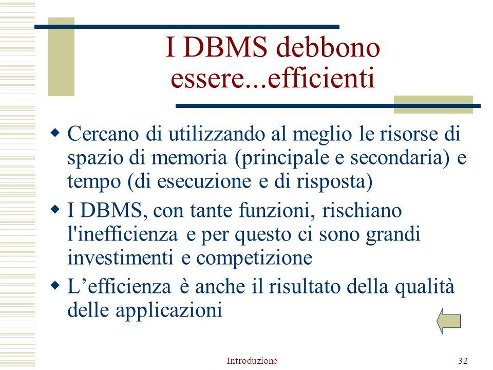 Introduzione32 I DBMS debbono essere...efficienti  Cercano di utilizzando al meglio le risorse di spazio di memoria (principale e secondaria) e tempo (di esecuzione e di risposta)  I DBMS, con tante funzioni, rischiano l inefficienza e per questo ci sono grandi investimenti e competizione  L'efficienza è anche il risultato della qualità delle applicazioni