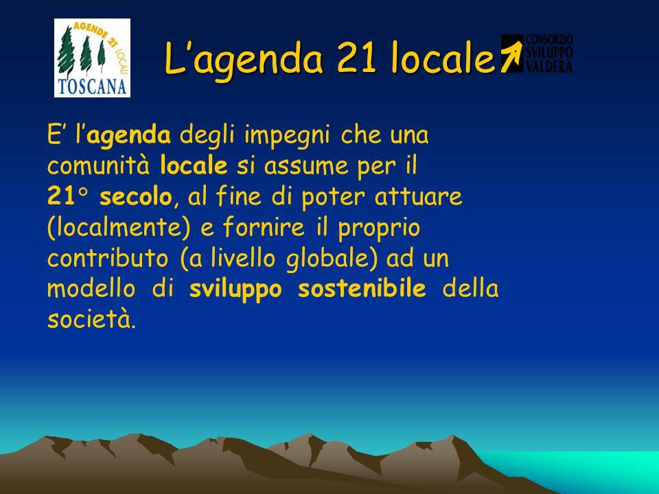 L'agenda 21 locale E' l'agenda degli impegni che una comunità locale si assume per il 21° secolo, al fine di poter attuare (localmente) e fornire il proprio contributo (a livello globale) ad un modello di sviluppo sostenibile della società.