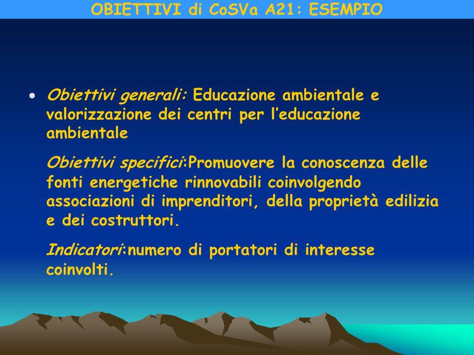 Obiettivi generali: Educazione ambientale e valorizzazione dei centri per l'educazione ambientale Obiettivi specifici:Promuovere la conoscenza delle fonti energetiche rinnovabili coinvolgendo associazioni di imprenditori, della proprietà edilizia e dei costruttori.