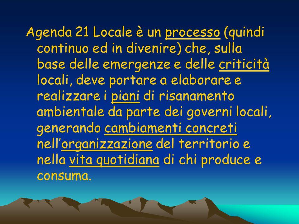 Agenda 21 Locale è un processo (quindi continuo ed in divenire) che, sulla base delle emergenze e delle criticità locali, deve portare a elaborare e realizzare i piani di risanamento ambientale da parte dei governi locali, generando cambiamenti concreti nell'organizzazione del territorio e nella vita quotidiana di chi produce e consuma.