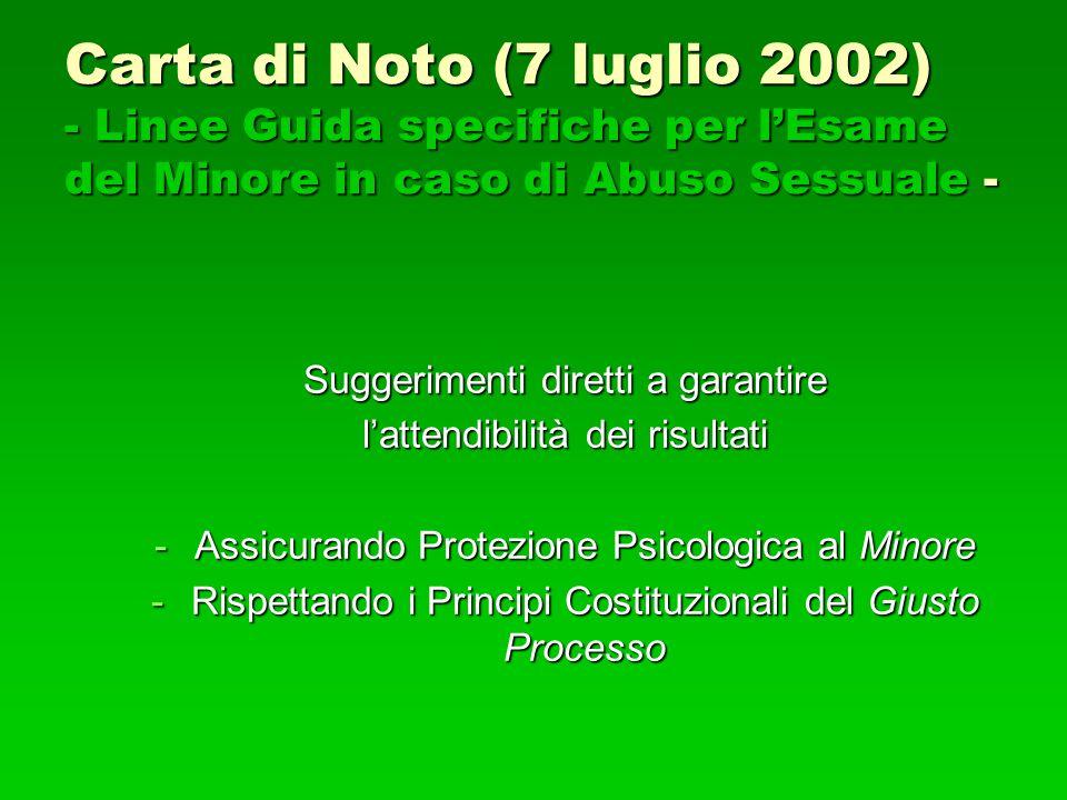 Carta di Noto (7 luglio 2002) - Linee Guida specifiche per l'Esame del Minore in caso di Abuso Sessuale - Suggerimenti diretti a garantire l'attendibi