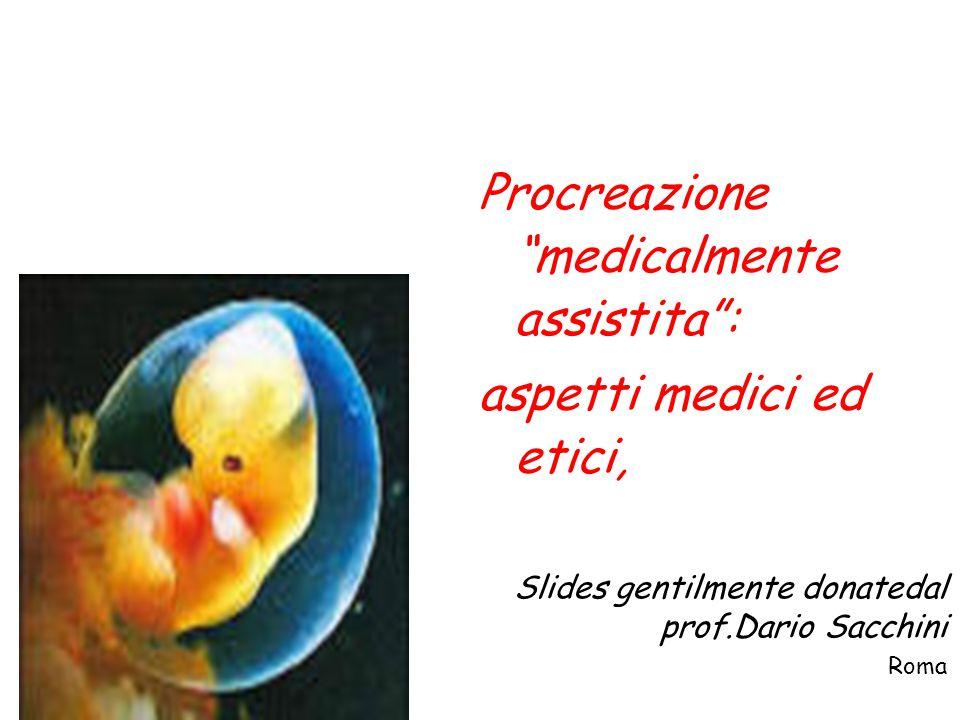 """Procreazione """"medicalmente assistita"""": aspetti medici ed etici, Slides gentilmente donatedal prof.Dario Sacchini Roma"""
