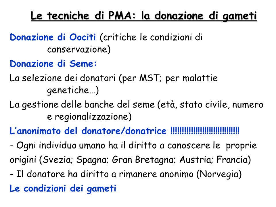 Le tecniche di PMA: la donazione di gameti Donazione di Oociti (critiche le condizioni di conservazione) Donazione di Seme: La selezione dei donatori