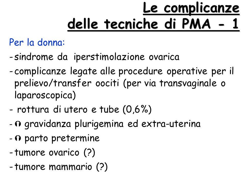 Le complicanze delle tecniche di PMA - 1 Per la donna: -sindrome da iperstimolazione ovarica -complicanze legate alle procedure operative per il preli