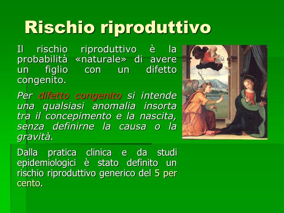 Rischio riproduttivo Il rischio riproduttivo è la probabilità «naturale» di avere un figlio con un difetto congenito. Per difetto congenito si intende