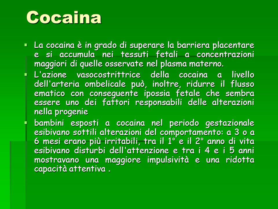 Cocaina  La cocaina è in grado di superare la barriera placentare e si accumula nei tessuti fetali a concentrazioni maggiori di quelle osservate nel