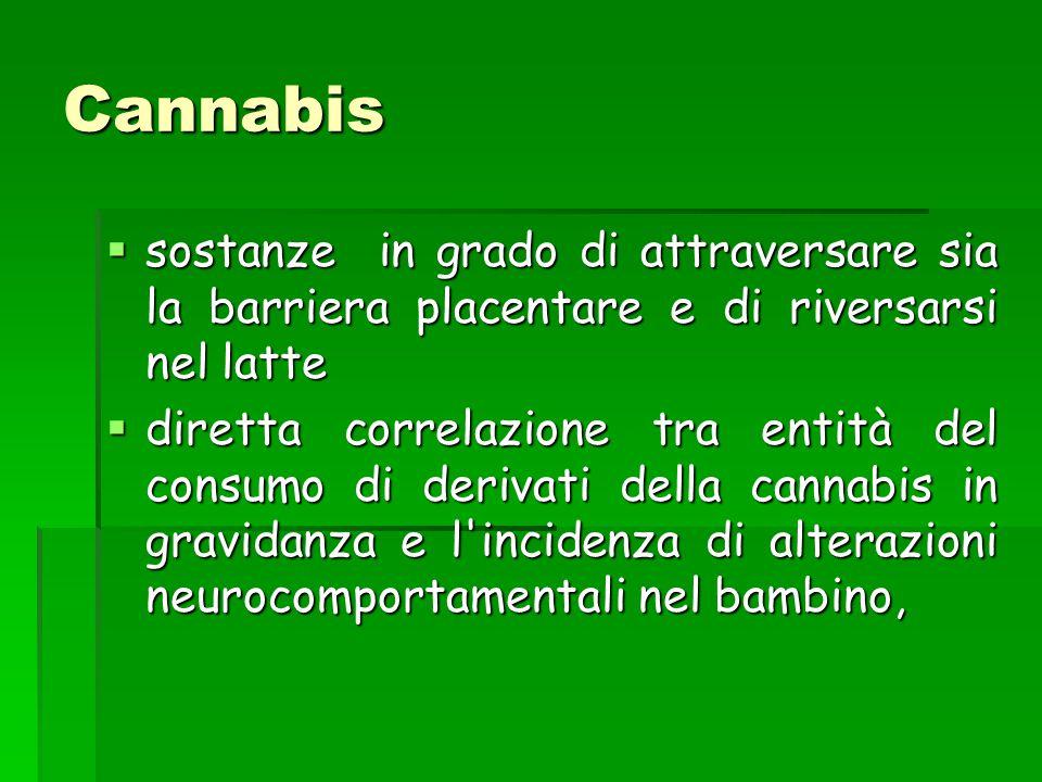 Cannabis  sostanze in grado di attraversare sia la barriera placentare e di riversarsi nel latte  diretta correlazione tra entità del consumo di der