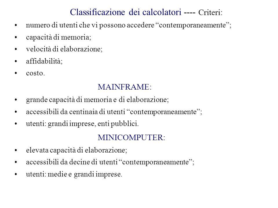 """Classificazione dei calcolatori ---- Criteri: numero di utenti che vi possono accedere """"contemporaneamente""""; capacità di memoria; velocità di elaboraz"""