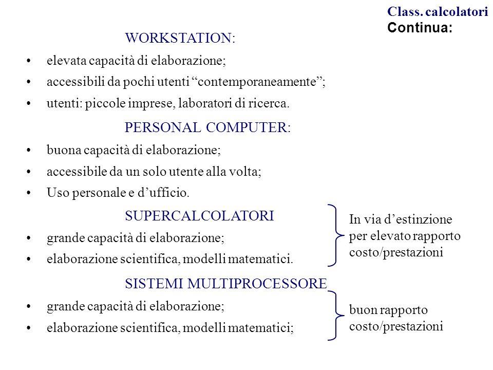 WORKSTATION: elevata capacità di elaborazione; accessibili da pochi utenti contemporaneamente ; utenti: piccole imprese, laboratori di ricerca.