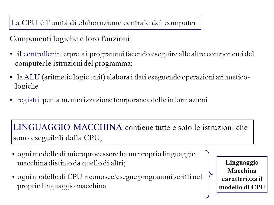 Componenti logiche e loro funzioni: il controller interpreta i programmi facendo eseguire alle altre componenti del computer le istruzioni del programma; la ALU (aritmetic logic unit) elabora i dati eseguendo operazioni aritmetico- logiche registri: per la memorizzazione temporanea delle informazioni.