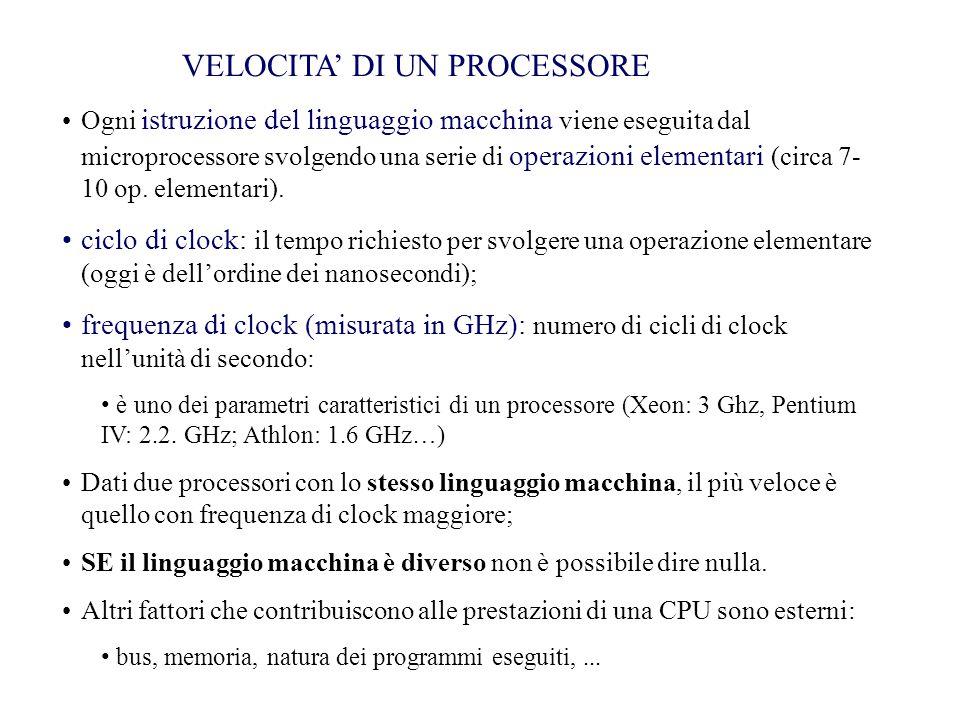 Ogni istruzione del linguaggio macchina viene eseguita dal microprocessore svolgendo una serie di operazioni elementari (circa 7- 10 op. elementari).