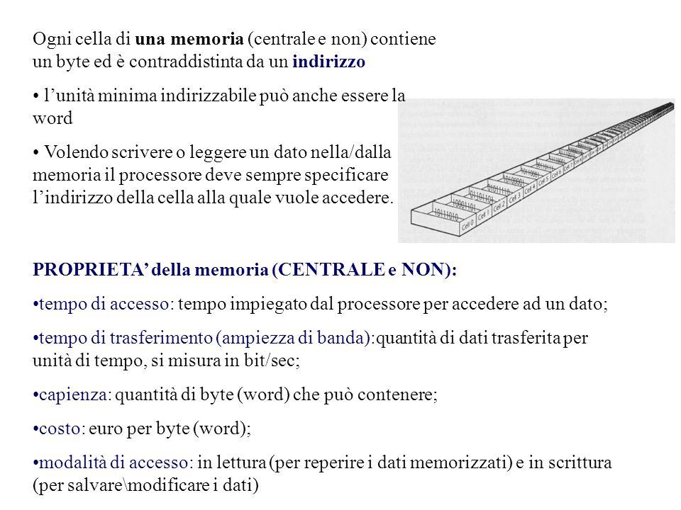 Ogni cella di una memoria (centrale e non) contiene un byte ed è contraddistinta da un indirizzo l'unità minima indirizzabile può anche essere la word