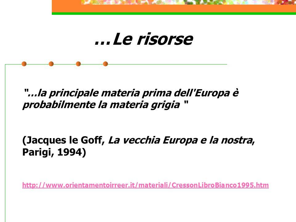 … Le risorse …la principale materia prima dell Europa è probabilmente la materia grigia (Jacques le Goff, La vecchia Europa e la nostra, Parigi, 1994) http://www.orientamentoirreer.it/materiali/CressonLibroBianco1995.htm