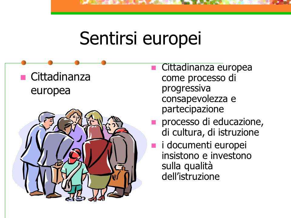 Sentirsi europei Cittadinanza europea Cittadinanza europea come processo di progressiva consapevolezza e partecipazione processo di educazione, di cultura, di istruzione i documenti europei insistono e investono sulla qualità dell'istruzione