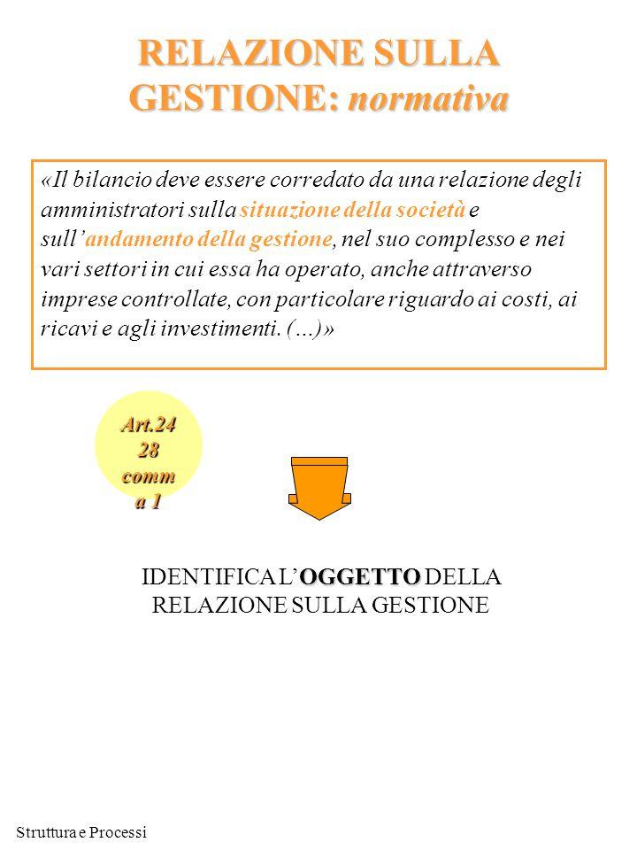 Struttura e Processi RELAZIONE SULLA GESTIONE: normativa «Il bilancio deve essere corredato da una relazione degli amministratori sulla situazione del