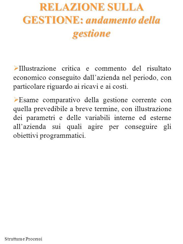 Struttura e Processi RELAZIONE SULLA GESTIONE: andamento della gestione  Illustrazione critica e commento del risultato economico conseguito dall'azi