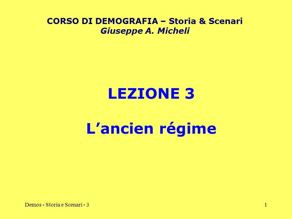 Demos - Storia e Scenari - 31 LEZIONE 3 L'ancien régime CORSO DI DEMOGRAFIA – Storia & Scenari Giuseppe A. Micheli