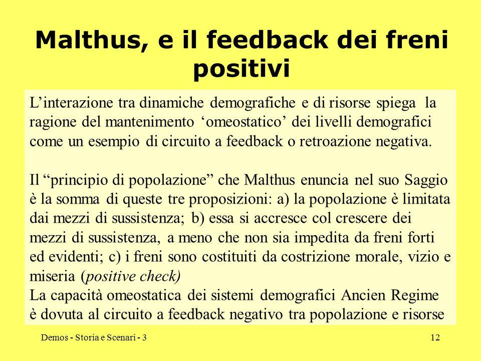 Demos - Storia e Scenari - 312 Malthus, e il feedback dei freni positivi L'interazione tra dinamiche demografiche e di risorse spiega la ragione del m