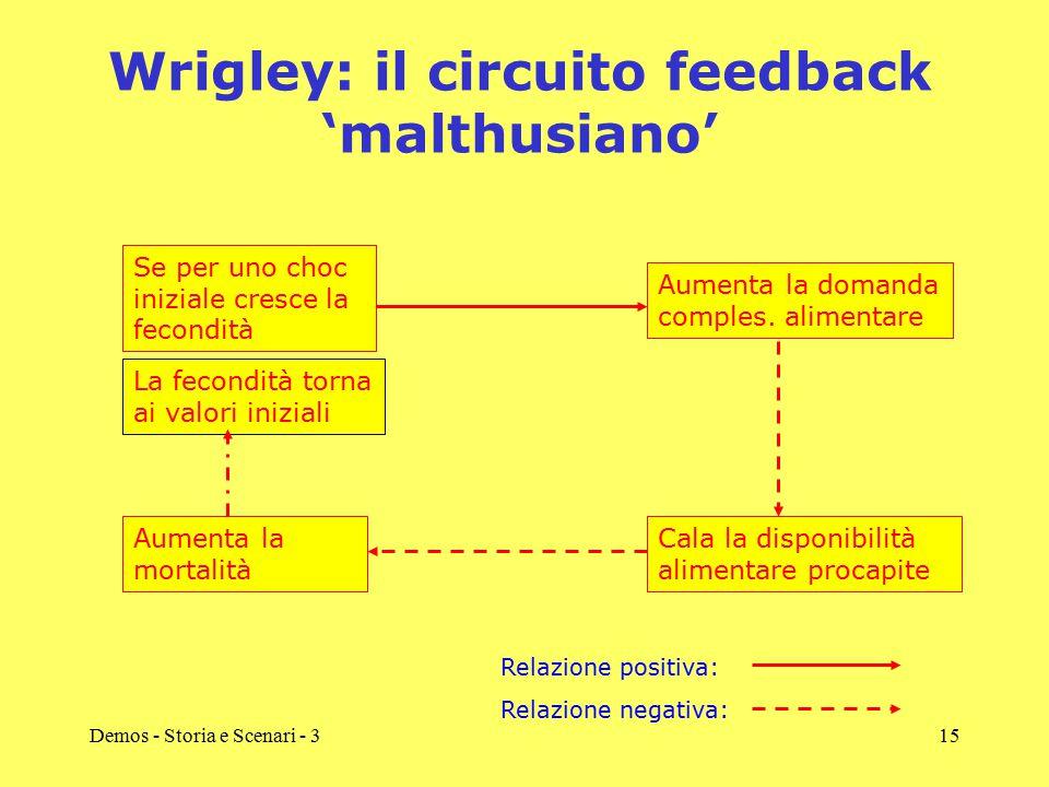 Demos - Storia e Scenari - 315 Wrigley: il circuito feedback 'malthusiano' Se per uno choc iniziale cresce la fecondità Cala la disponibilità alimenta