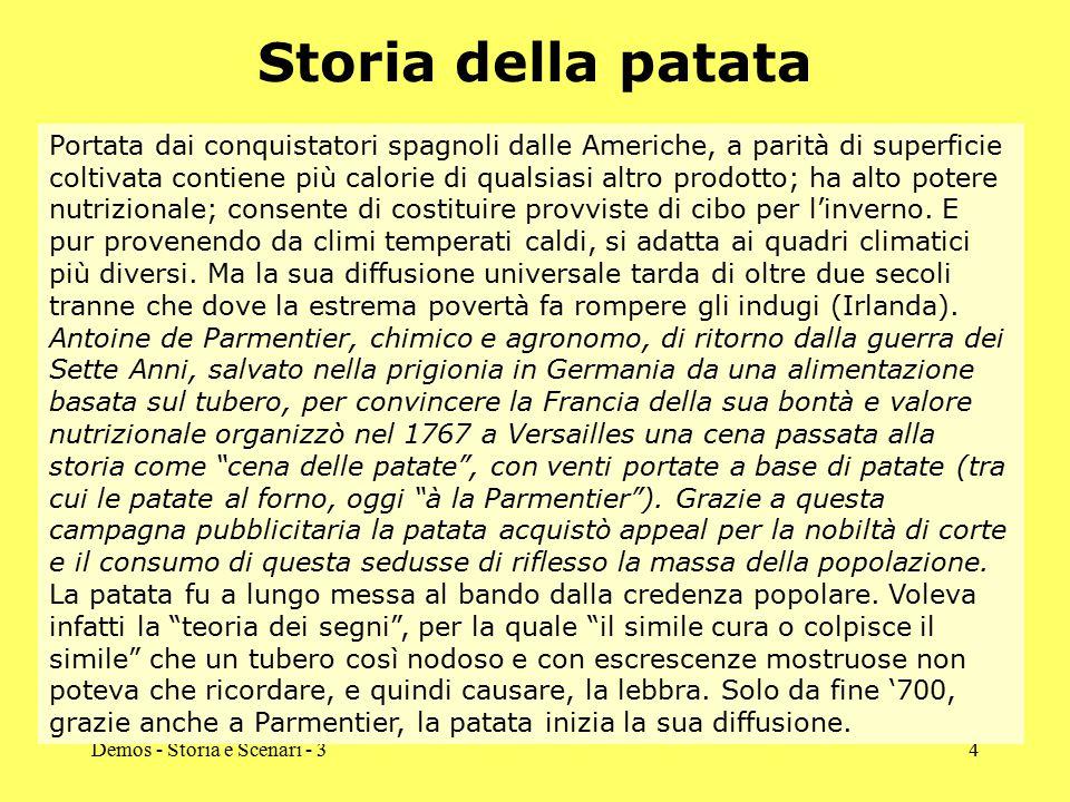 Demos - Storia e Scenari - 34 Storia della patata Portata dai conquistatori spagnoli dalle Americhe, a parità di superficie coltivata contiene più cal
