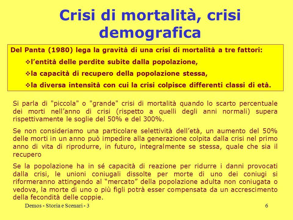 Demos - Storia e Scenari - 36 Crisi di mortalità, crisi demografica Si parla di