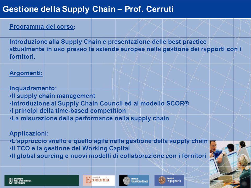 Gestione della Supply Chain – Prof.