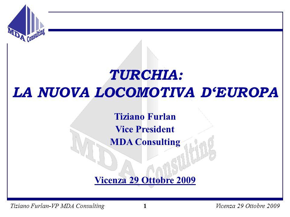 Tiziano Furlan-VP MDA ConsultingVicenza 29 Ottobre 2009 1 Tiziano Furlan Vice President MDA Consulting Vicenza 29 Ottobre 2009 TURCHIA: LA NUOVA LOCOMOTIVA D'EUROPA