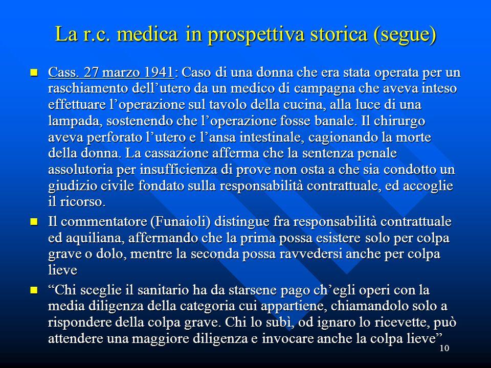 10 La r.c. medica in prospettiva storica (segue) n Cass. 27 marzo 1941: Caso di una donna che era stata operata per un raschiamento dell'utero da un m