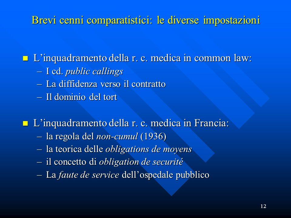 12 Brevi cenni comparatistici: le diverse impostazioni n L'inquadramento della r. c. medica in common law: –I cd. public callings –La diffidenza verso